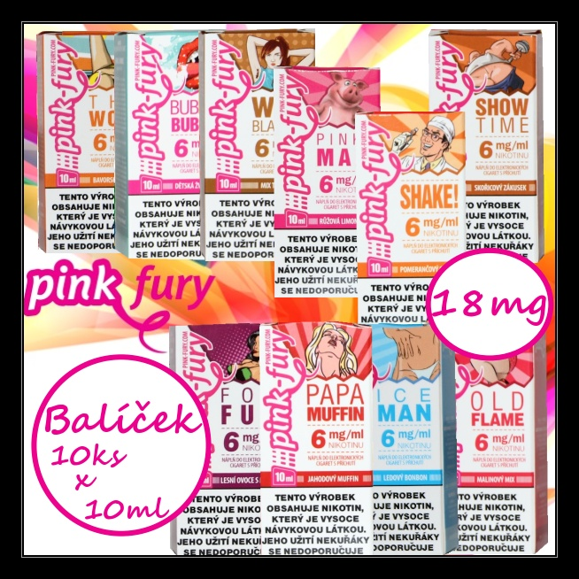 E-liquid Pink Fury Pack 18mg / 10x10ml